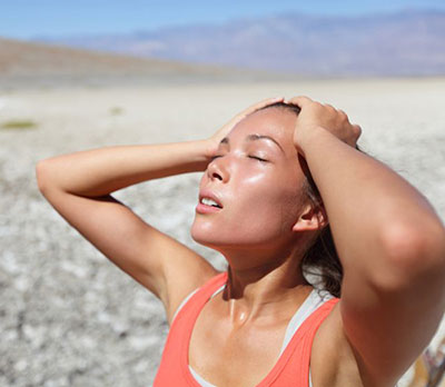woman sweating in the desert